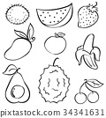 Doodle of fruit set hand draw 34341631