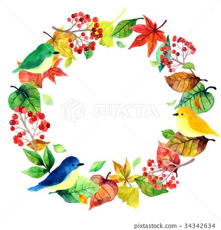 小鸟和植物花圈 34342634