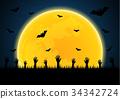 Halloween zombie hand graveyard bat moon 34342724