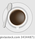 top view of coffee cup on dish with spoon 34344871