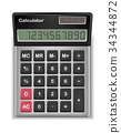top view of real calculator on a white background 34344872