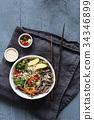 Soba noodles stir fry 34346899
