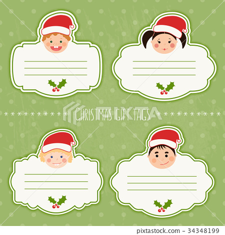 Christmas Gift Tags For Kids.Vector Set Of Funny Christmas Gift Tags With Kids Stock