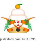 kagami rice cakes, round rice-cake, mirror-shaped rice cake 34348295