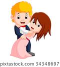 cartoon young boy and girl dancing 34348697