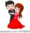 cartoon young boy and girl dancing 34348699
