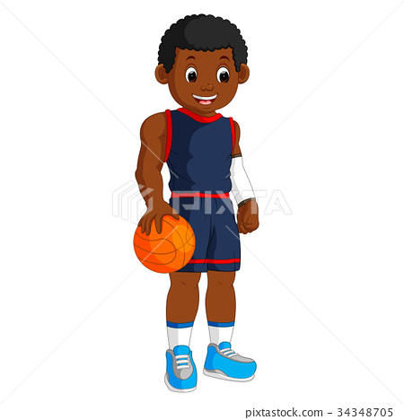 energetic young man playing basketball 34348705