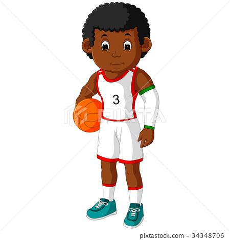energetic young man playing basketball 34348706