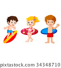 Cute collection of surfing kids 34348710