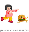 Overweight Woman chasing hamburger cartoon 34348713