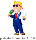 cartoon host holding a microphone 34348734