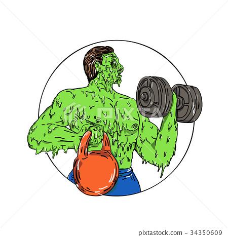 Athlete Fitness Dumbbell Kettlebell Grime Art 34350609