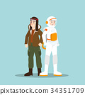 Pilot and astronaut in different character  34351709
