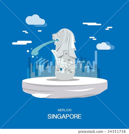 Merlion landmark and tourist attraction Singpapore 34351738