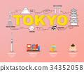 Tokyo landmarks icons in Japan for traveling. 34352058