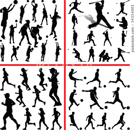 basketball, baseball, soccer, runner 34354905
