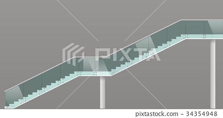 Modern staircase with glass railings 34354948