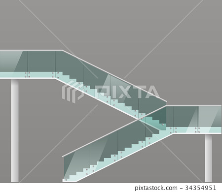 Modern staircase with glass railings 34354951