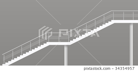 Modern staircase with metal railings 34354957