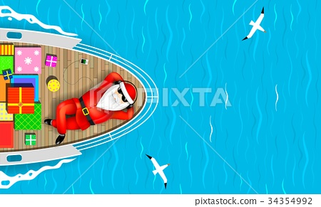 Santa Claus swimming on a yacht 34354992
