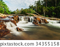 Small waterfall and stone with water motion. 34355158