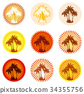 Icons with Palms Silhouettes 34355756