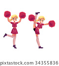 vector smiling cheerleader dancing with pom-poms 34355836