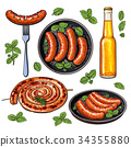 Beer and sausages, big set of barbeque party food 34355880