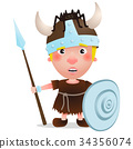 vector Viking warrior with spider on hat 34356074