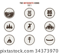 Boy scouts icons, patches. Camping stickers. Tent 34373970