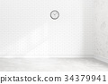Blank white brick wall interior with ligt shadow 34379941