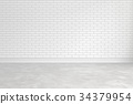 Blank white brick wall interior with ligt shadow 34379954