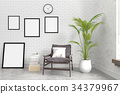 Modern brick interior wall with blank photo frame 34379967