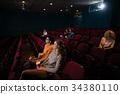 Group of people watching movie 34380110