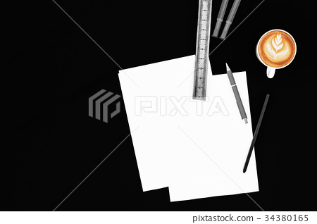 Office desk table with blank paper with pencil and 34380165