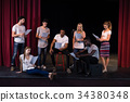 Actors reading their scripts on stage 34380348