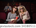 Female friends watching movie in theatre 34380511