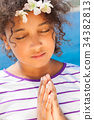 Angelic African American Female Girl Child Praying 34382813