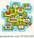 Map of amusement park with attractions 34383299
