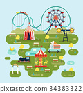 Circus with attractions or amusement park map 34383322