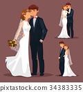 Set of isolated married couple, wedding 34383335