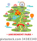 Map of amusement park or circus with attractions 34383340