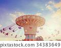 Wave Swinger corousel ride against blue sky 34383649