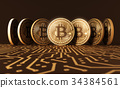 Seven Virtual Coins Bitcoins On Printed Circuit 34384561