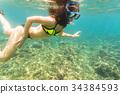 bikini, snorkelling, tropical 34384593