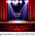 curtain, theater, red 34385358