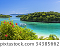 Kabira海灣珊瑚礁海在石垣島的 34385662