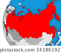 Map of Russia on political globe 34386192