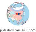 Mongolia on globe isolated 34386225