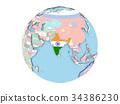 India on globe isolated 34386230